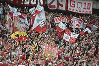 BOGOTÁ-COLOMBIA-03-04-2014. Aspecto de los seguidores de Santa Fe durante el partido de vuelta entre Independiente Santa Fe de Colombia y Atlético Mineiro de Brasil por la primera fase llave G4, de la Copa Bridgestone Libertadores en el estadio Nemesio Camacho El Campin, de la ciudad de Bogota. / Aspect of the supporters of Santa Fe during the second leg match between Independiente Santa Fe of Colombia and Atletico Mineiro of Brazil for the first phase, G4 key, of the Copa Bridgestone Libertadores in the Nemesio Camacho El Campin in Bogota city.  Photo: VizzorImage/ Gabriel Aponte /Staff