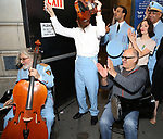 George Abud, Ari'el Stachel and David Yazbek with the Alexandria Ceremonial Police Orchestra  during 'The Band's Visit'  Post-Show Jam celebrating the 10 Time Tony Award Winning Best Musical at the Barrymore Theatre on June 12, 2018 in New York City.