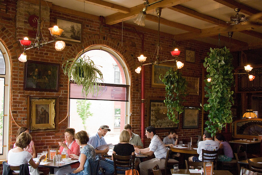 Dining room scene at The Vierling Restaurant and Marquette Harbor Brewery in downtown Marquette Michigan.