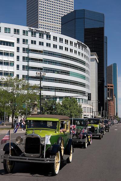 Memorial Day, antique car parade, Denver, Colorado, USA John offers private photo tours of Denver, Boulder and Rocky Mountain National Park.