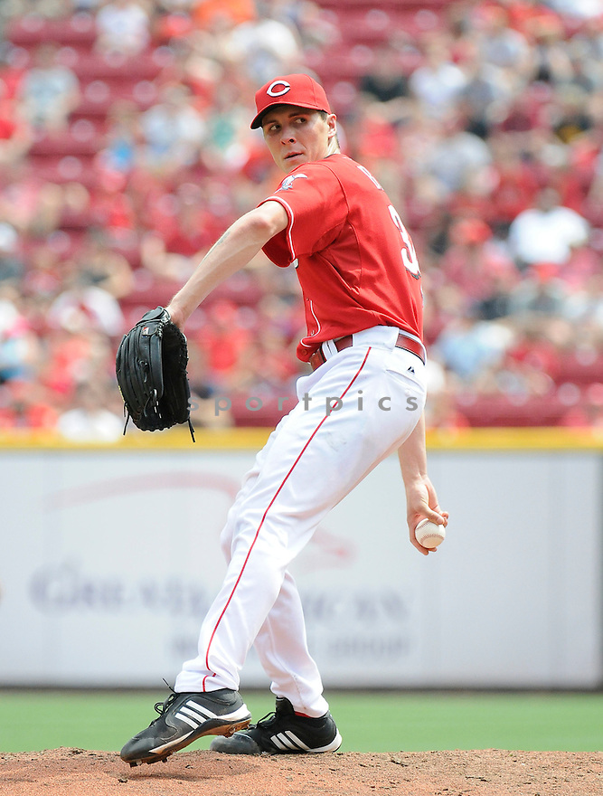 HOMER BAILEY, of  the Cincinnati Reds, in action during the Reds game against the Florida Marlins at Great American Ball Park in Cincinnati, Ohio on August 15, 2010.   Reds won the game 2-0...