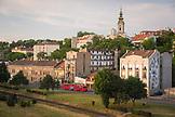 SERBIA, Belgrade, Tram passing Belgrade's main cathedral, Eastern Europe