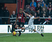 Bournemouth's Jordon Ibe (left) is tackled by Wolverhampton Wanderers' Joao Moutinho (right) <br /> <br /> Photographer David Horton/CameraSport<br /> <br /> The Premier League - Bournemouth v Wolverhampton Wanderers - Saturday 23 February 2019 - Vitality Stadium - Bournemouth<br /> <br /> World Copyright © 2019 CameraSport. All rights reserved. 43 Linden Ave. Countesthorpe. Leicester. England. LE8 5PG - Tel: +44 (0) 116 277 4147 - admin@camerasport.com - www.camerasport.com