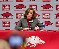 Hawgs Illustrated/BEN GOFF <br /> Julie Cromer Peoples, Arkansas interim athletics director, holds a press conference to discus the firing of football coach Bret Bielema Friday, Nov. 24, 2017, at Barnhill Arena in Fayetteville.