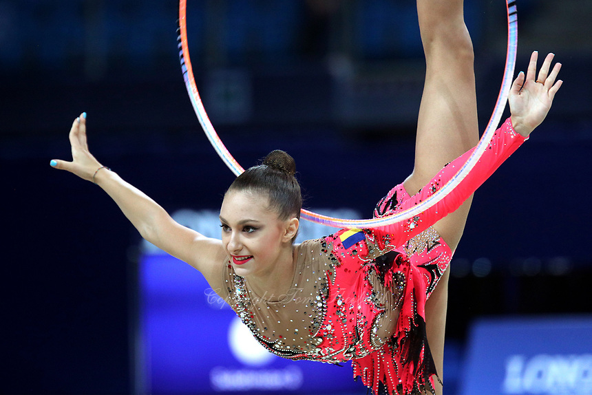 August 30, 2017 - Pesaro, Italy - ANA LUIZA FILIORIANU of Romania performs with hoop at 2017 World Championships.