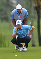 Tyrrell Hatton (Europe) on the 2nd green during the Saturday Foursomes of the Eurasia Cup at Glenmarie Golf and Country Club on the 13th January 2018.<br /> Picture:  Thos Caffrey / www.golffile.ie