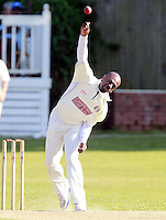 Kirk Drummond bowls for South Hampstead during the Middlesex County Cricket League Division Three game between North London and South Hampstead at Park Road, Crouch End on Sat June 21, 2014.