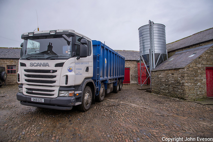 Solway Agriculture Limited, Scania lorry delivering feed to a farm in Northumberland.