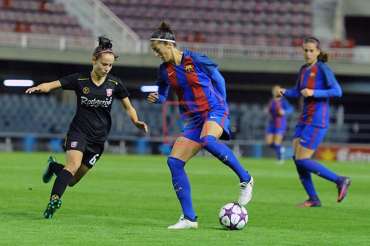 UEFA Women's Champions League 2016/2017.<br /> Round of 16 - First Leg<br /> FC Barcelona vs Twente: 1-0.<br /> Munsterman vs Jennifer Hermoso.