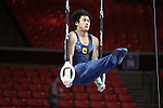 20 APR 2012: Glen Ishino of U.C. Berkeley - California competes in the Rings competition during the Division I Men's Gymnastics Championship held at the Lloyd Noble Center on the University of Oklahoma campus in Norman, OK. The U.C. Berkeley - California team finished in fourth place with a score of 353.0 points. Stephen Pingry/NCAA Photos