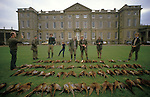 Joss Hanbury owner before he sold to Asil Nadir of Polly peck.  Joss Hanbury later bought property back when Nadir fled the country. ( third left green jumper) Pheasant Shooting. The bag at Burley House. Burley on the Hill Rutland.    The English Season published by Pavilon Books 1987