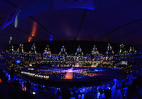 August 12, 2012..Final moments of the closing ceremony at the Olympic Stadium on the last day of 2012 Olympic Games in London, United Kingdom.