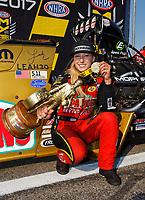 Aug 20, 2017; Brainerd, MN, USA; NHRA top fuel driver Leah Pritchett celebrates after winning the Lucas Oil Nationals at Brainerd International Raceway. Mandatory Credit: Mark J. Rebilas-USA TODAY Sports