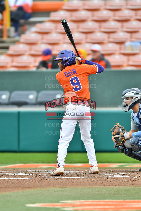 Clemson Tigers second baseman Jordan Greene (9) awaits a pitch during a game against the North Carolina Tar Heels at Doug Kingsmore Stadium on March 9, 2019 in Clemson, South Carolina. The Tigers defeated the Tar Heels 3-2 in game one of a double header. (Tony Farlow/Four Seam Images)