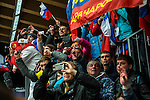 KRASNAYA POLYANA, RUSSIA  - JANUARY 17:<br /> Russian fans cheer and take pictures during the men's two-man bobsled at Sanki Sliding Center during the 2014 Sochi Olympics Monday February 17, 2014. USA-1 with Steven Holcomb, of Park City, Utah, and Steve Langton, of Melrose, Mass., won the bronze medal with a time of 3:46.27.<br /> (Photo by Chris Detrick/The Salt Lake Tribune)