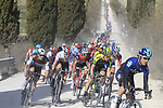 The peloton including Chris Juul Jensen (IRL/DEN) Mitchelton-Scott on sector 2 Bagnaia during Strade Bianche 2019 running 184km from Siena to Siena, held over the white gravel roads of Tuscany, Italy. 9th March 2019.<br /> Picture: Eoin Clarke | Cyclefile<br /> <br /> <br /> All photos usage must carry mandatory copyright credit (&copy; Cyclefile | Eoin Clarke)