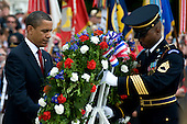 Arlington, VA - May 25, 2009 -- United States President Barack Obama lays a wreath at the Tomb of the Unknown Soldier during Memorial Day commemorations at Arlington National Cemetery, Arlington, VA, Monday, May 25, 2009. .Mandatory Credit: Chad J. McNeeley - DoD via CNP.........  .Mandatory Credit: Chad J. McNeeley - DoD via CNP  .Mandatory Credit: Chad J. McNeeley - DoD via CNP