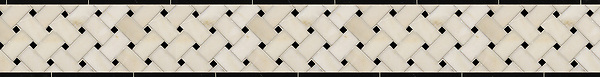 "5 1/4"" Basketweave border, a hand-cut stone mosaic, shown in polished Heavenly Cream and Nero Marquina."