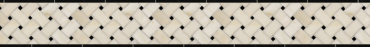 """5 1/4"""" Basketweave border, a hand-cut stone mosaic, shown in polished Heavenly Cream and Nero Marquina."""