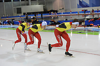 SCHAATSEN: SALT LAKE CITY: Utah Olympic Oval, 12-11-2013, Essent ISU World Cup, training, Maarten Swings (BEL), Wannes van Praet (BEL), Ferre Spruyt (BEL), ©foto Martin de Jong