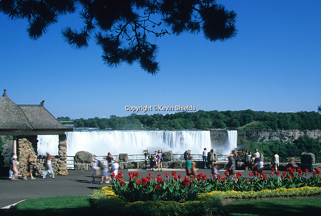 View of the American Falls from the Canadian side of the Niagara River, Ontario, Canada.