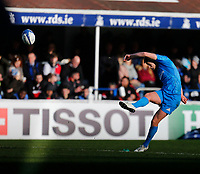 12th January 2020; RDS Arena, Dublin, Leinster, Ireland; Heineken Champions Cup Rugby, Leinster versus Lyon Olympique Universitaire; Ross Byrne of Leinster converts Josh van der Flier of Leinster try 14 - 0 - Editorial Use