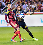 Real Salt Lake midfielder Javier Morales (11) and Philadelphia Union defender Raymon Gaddis (28) vie for the ball in the first half Saturday, March 14, 2015, during the Major League Soccer game at Rio Tiinto Stadium in Sandy, Utah. (© 2015 Douglas C. Pizac)