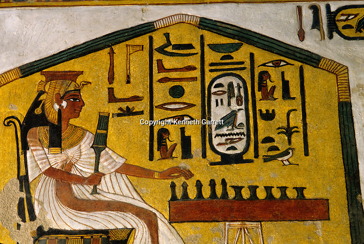 EVOK. Tomb of Nefertari; Nefertari playing senet; which in Book of the Dead; Symbolizes trials that must be overcome to enter kingdom of Osiris; Egypt