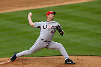 22 March 2009: #44 Roy Oswalt of USA pitches against Japan during the 2009 World Baseball Classic semifinal game at Dodger Stadium in Los Angeles, California, USA. Japan wins 9-4 over Team USA.