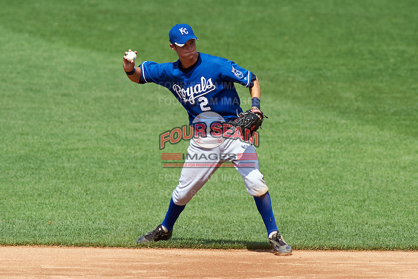 Brantley Bell #2 of Mountain Pointe High School in Phoenix, Arizona  playing for the Kansas City Royals scout team during the East Coast Pro Showcase at Alliance Bank Stadium on August 3, 2012 in Syracuse, New York.  (Mike Janes/Four Seam Images)