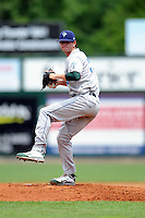 Vermont Lake Monsters pitcher Kyle Finnegan #22 during a game versus the Lowell Spinners at LeLacheur Park in Lowell, Massachusetts on June 30, 2013. (Ken Babbitt/Four Seam Images)
