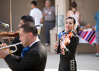 The Occidental College Music Department and Music 151 presents Mariachi Tierra Mia, with Maira Solis '15 on violin, in the Booth Music Quad on Oct. 10, 2014. (Photo by Marc Campos, Occidental College Photographer)
