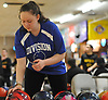 Kaitlyn O'Toole of Levittown Division gets ready to roll during a Nassau County girls bowling match against MacArthur at Levittown Lanes on Wednesday, Jan. 3, 2018. She bowled a 391 series with a high game of 136.