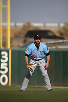 Jared Walsh (21) of the Inland Empire 66ers in the field at first base during a game against the Lancaster JetHawks at The Hanger on September 3, 2017 in Lancaster, California. Lancaster defeated Inland Empire, 5-4. (Larry Goren/Four Seam Images)