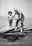North East PA - Sarah and Helen Stewart having fun on the beach - 1919.   This was the Stewart family's first Lake Erie vacation after Brady Stewart served his country during World War 1.  Stewart family rented a cabin on Lake Erie near North East.