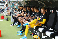 Bank von Eintracht Frankfurt mit David Abraham (Eintracht Frankfurt), Timothy Chandler (Eintracht Frankfurt), Mijat Gacinovic (Eintracht Frankfurt), Erik Durm (Eintracht Frankfurt), Jonathan de Guzman (Eintracht Frankfurt), Torwart Jan Zimmermann (Eintracht Frankfurt) - 01.08.2019: Eintracht Frankfurt vs. FC Flora Tallinn, UEFA Europa League, Qualifikation 2. Runde, Commerzbank Arena<br /> DISCLAIMER: DFL regulations prohibit any use of photographs as image sequences and/or quasi-video.