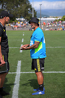 Carlos Spencer talks to Hurricanes head coach John Plumtree during the Super Rugby preseason match between the Hurricanes and Crusaders at Levin Domain in Levin, New Zealand on Saturday, 2 February 2019. Photo: Dave Lintott / lintottphoto.co.nz