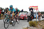 Pello Bilbao Lopez (ESP) and Fabio Aru (ITA) Astana with Steven Kruijswijk (NED) Lotto NL-Jumbo climb to the finish of Stage 11 of the 2017 La Vuelta, running 187.5km from Lorca to Observatorio Astron&oacute;mico de Calar Alto, Spain. 30th August 2017.<br /> Picture: Unipublic/&copy;photogomezsport | Cyclefile<br /> <br /> <br /> All photos usage must carry mandatory copyright credit (&copy; Cyclefile | Unipublic/&copy;photogomezsport)