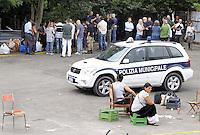 Roma, 1 Luglio 2011.Via Cave di Pietralata 112.Sgombero della comunità Rom Romena.con Polizia di Stato e Polizia municipale.
