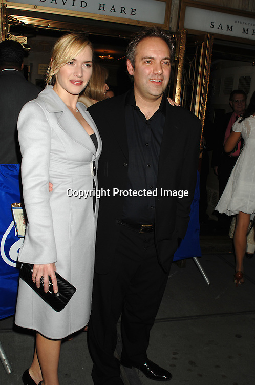 "Kate Winslet and Sam Mendes..arriving at The Broadway Opening of ""The Vertical Hour"" ..by David Hare on November 30, 2006 at The Music Box ..Theatre in New York. The play was directed by Sam Mendes and starred Julianne Moore and Bill Nighy...Robin Platzer, Twin Images"