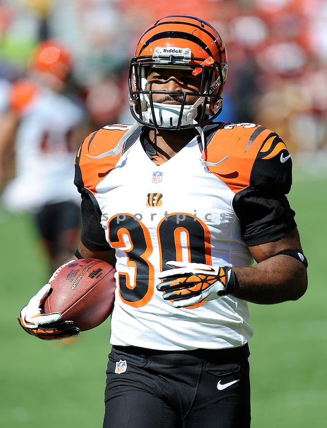 Cincinnati Bengals Cedric Peerman (30) in action during a game against the washington Redskins on September 23, 2012 at FedExField in Washington DC. The Bengals beat the Redskins 38-31.
