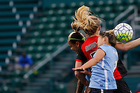 Rochester, NY - Saturday May 21, 2016: Western New York Flash midfielder Samantha Mewis (5) goes up for a header with Sky Blue FC midfielder Shawna Gordon (2) and forward Tasha Kai (32). The Western New York Flash defeated Sky Blue FC 5-2 during a regular season National Women's Soccer League (NWSL) match at Sahlen's Stadium.