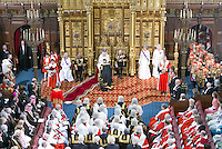 18 May 2016 - London England - Justice Secretary Michael Gove kneels beforeQueen Elizabeth II and Prince Philip Duke of Edinburgh with Prince Charles Prince of Wales and Camilla Duchess of Cornwall during the State Opening of Parliament in the House of Lords in London. The State Opening of Parliament marks the formal start of the parliamentary year and the Queen's Speech sets out the government's agenda for the coming session. Photo Credit: ALPR/AdMedia