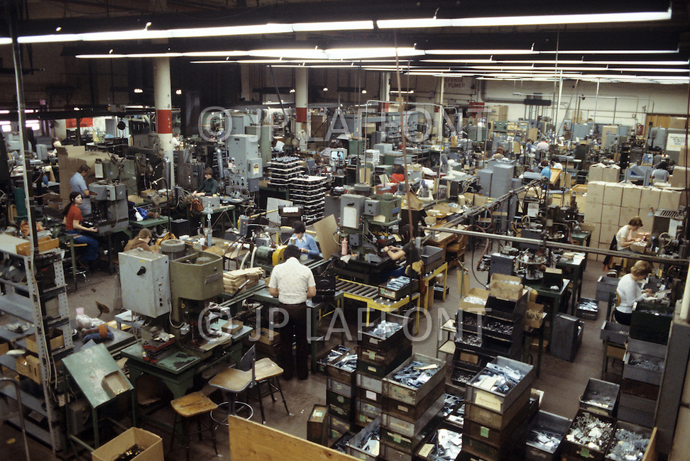 Quebec, Canada, March 1978. Daily life in Quebec. Women employed in the production of technological equipment.