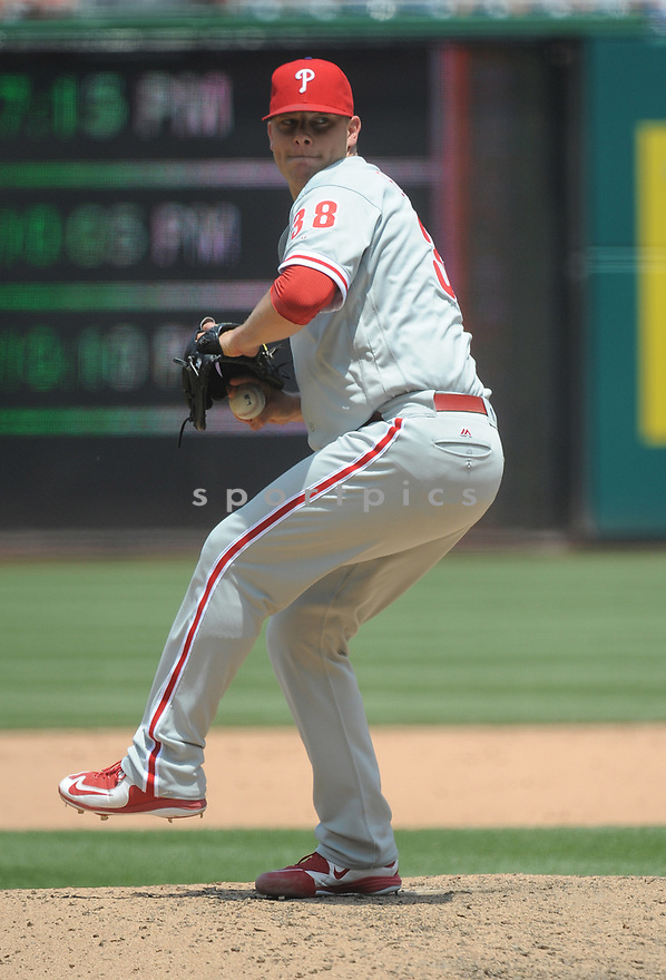 Philadelphia Phillies Andrew Bailey (38) during a game against the Washington Nationals on June 11, 2016 at Nationals Park in Washington, DC. The Nationals beat the Phillies 8-0.