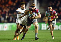 James Chisholm of Harlequins takes on the Wasps defence. European Rugby Champions Cup match, between Harlequins and Wasps on January 13, 2018 at the Twickenham Stoop in London, England. Photo by: Patrick Khachfe / JMP