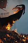 Donggang, Taiwan -- The burning bow of the King Boat.
