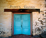 Turquoise doors to the garden at San Antonio Mission, one of the 21 historic missions on the California camino real.