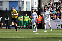 Pictured: Swansea captain Ashley Williams (R) vents his anger against match referee Lee Mason (L). Sunday 19 May 2013<br /> Re: Barclay's Premier League, Swansea City FC v Fulham at the Liberty Stadium, south Wales.