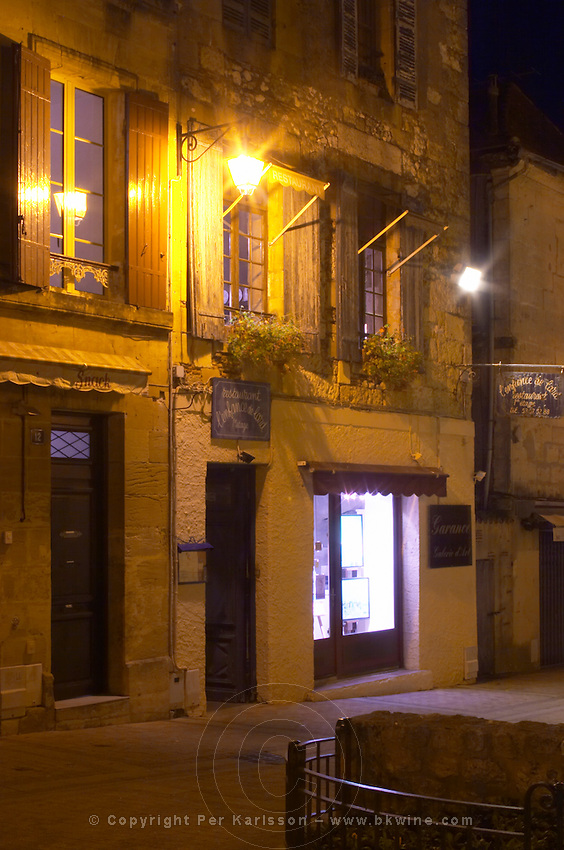 One of the houses on the main square Place Pelissiere Square in the old town, housing the gastronomic restaurant L'Enfance de Lard Bergerac Dordogne France